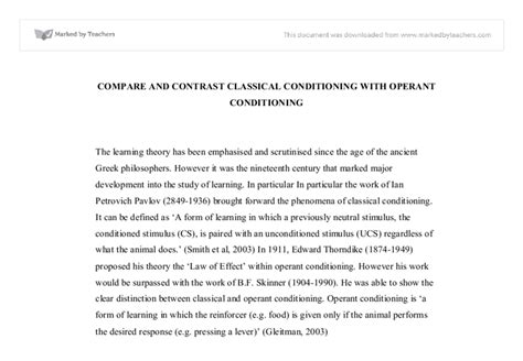 Classical Conditioning Essay by Compare And Contrast Classical Conditioning With Operant Conditioning Biological