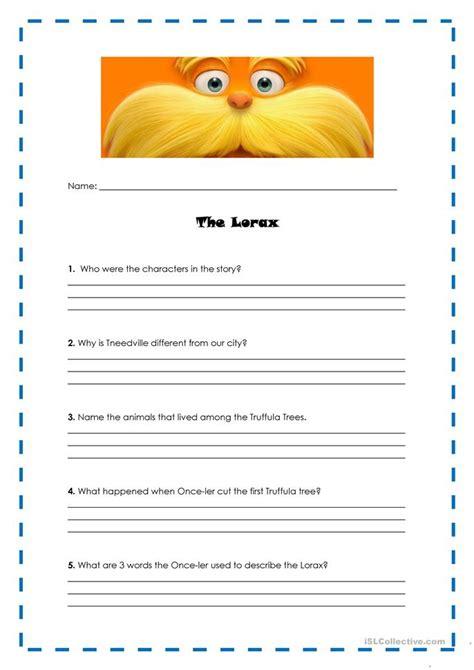 The Lorax Worksheet lorax worksheet letravideoclip