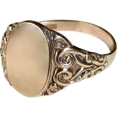 antique 10k gold signet ring no monogram
