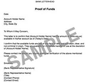 Proof Payment Letter Sle Proof Of Funds Letter Sle 39 Images 25 Best Proof Of