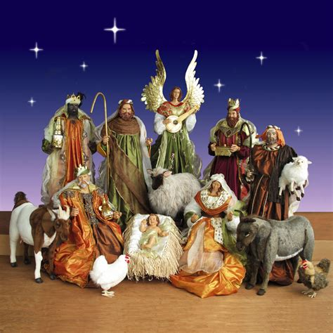 size nativity set with resin figurines and plush animals