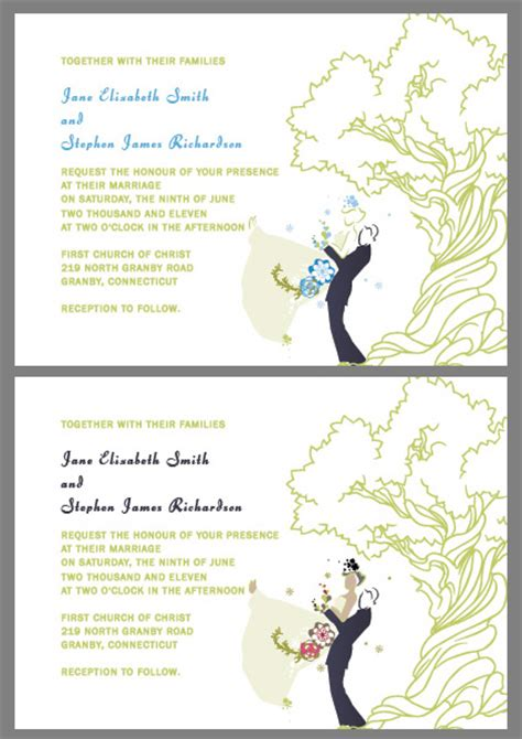 printable invitation kits oak tree and couple custom wedding invitations wedding