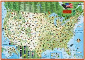 children s map of the united states laminated illustrated