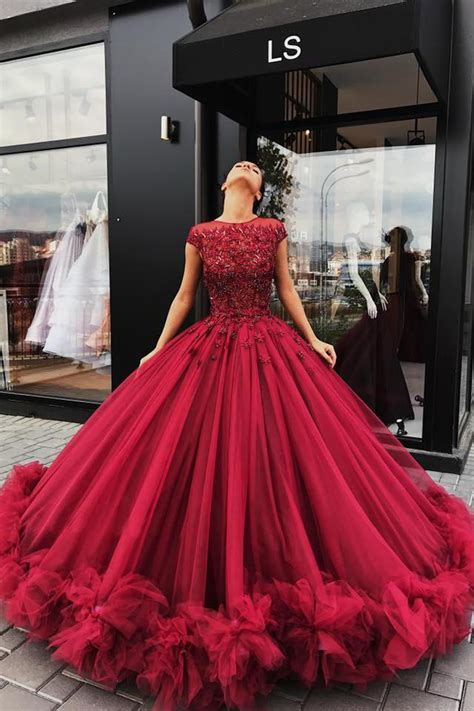Red Tulle Ball Gown Prom Dress, Sweet 16 Dresses
