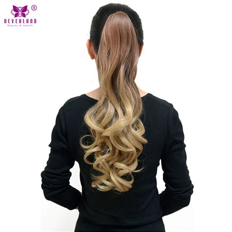 Hairclip Ombreponytailwig neverland 20 quot wavy synthetic hair claw clip on ponytail hairpieces high temperature fiber ombre
