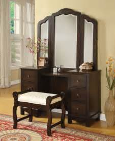 Vanity Set Furniture Acme 06552 3 Pcs Espresso Makeup Vanity Set With Tri Fold Mirror Traditional Bedroom