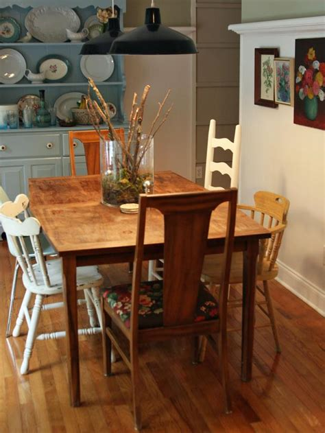 mismatched dining room chairs cottage style dining room table with vintage blue hutch hgtv