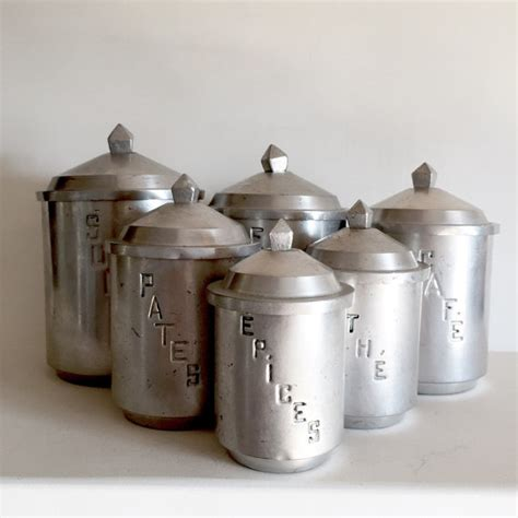 Unique Kitchen Canisters | unique french vintage aluminum kitchen canisters set of 6