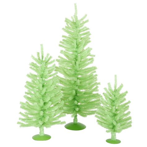 12 inch 18 inch 24 inch chartreuse mini christmas tree set