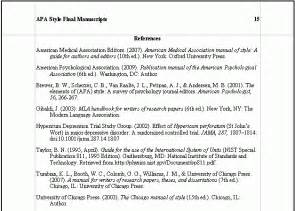 Apa Essay References by Apa Style Reference Page Format