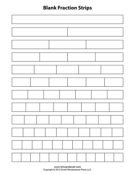 printable blank math worksheets fraction strip templates for kids school math printables