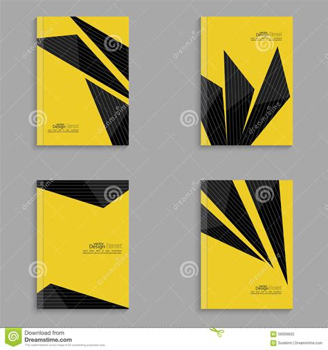 Origami Book Cover - set covers for magazine of black stripes stock vector