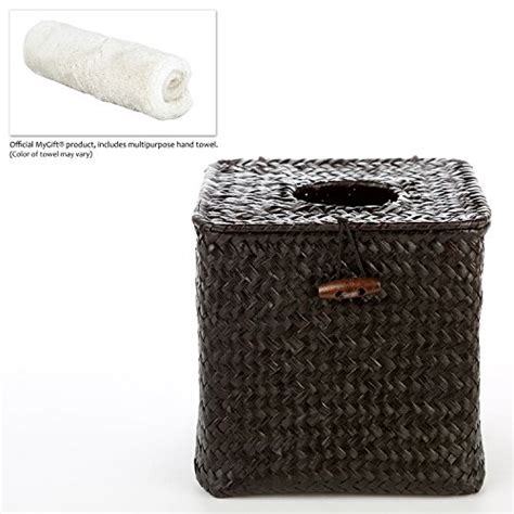 Seagrass Bathroom Accessories Decorative Woven Black Seagrass Refillable Tissue Napkin Holder Box W Hinged Top Lid