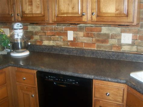 brick tile backsplash kitchen faux brick wallpaper dime and a prayer