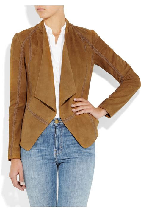 draped suede jacket vince draped suede jacket in brown lyst