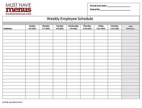 work schedule template for multiple employees clickuk org