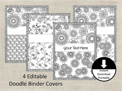 free printable binder covers to color doodle color page binder covers binder insert adult color