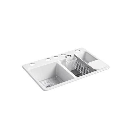 double sink drain kit home depot kohler riverby undermount cast iron 33 in 5 hole double