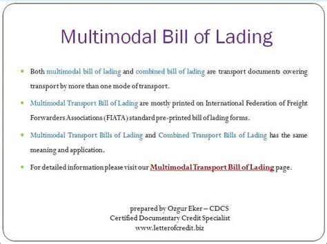 letter of credit documents multimodal transport bill of