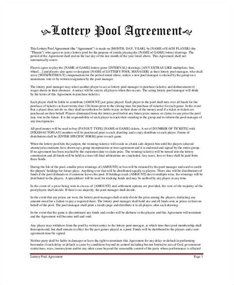 lottery pool contract template lottery pool agreement template 6 free pdf documents