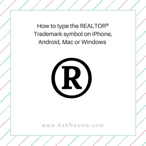 how to be a realtor how to type realtor 174 trademark symbol on iphone android