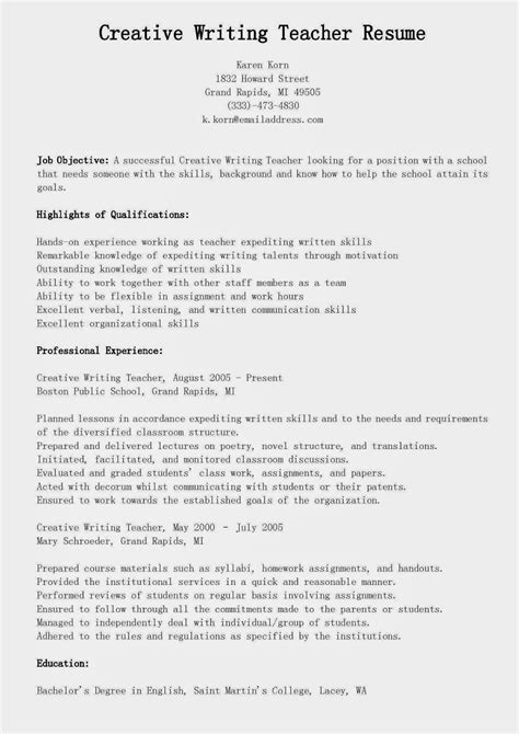 Sample Resume Objectives Teachers by Resume Samples Creative Writing Teacher Resume Sample