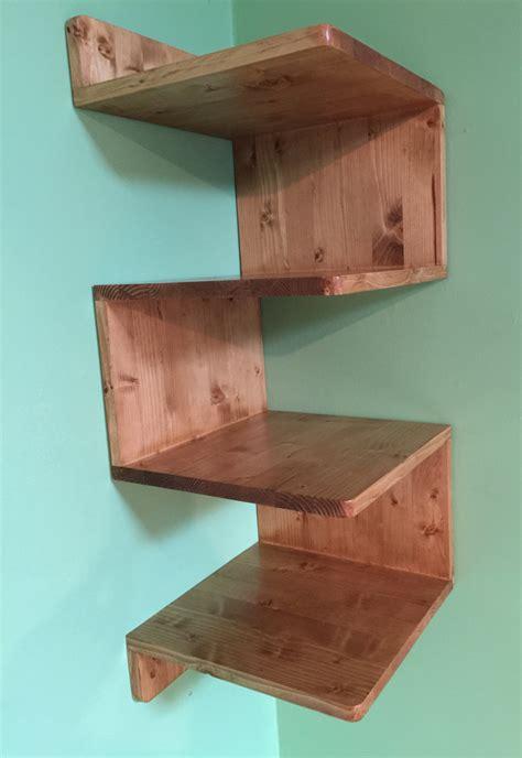 wooden shelves zig zag corner shelf custommade shelves handmade corner