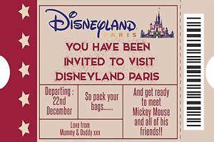 personalised disney ticket style disneyland paris invites