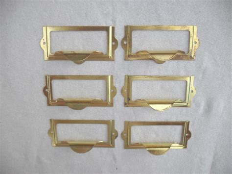 Library Drawer Pulls by 6 Vintage Nos Brass Plated Drawer Finger Pulls Library