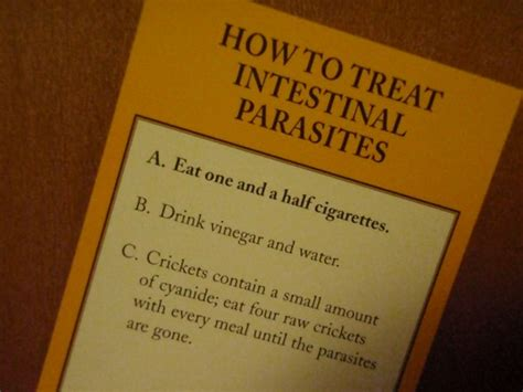 eat cigarettes to get rid of intestinal parasites