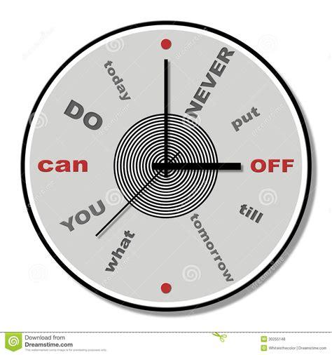 clock online themes never put off till tomorrow clock theme stock illustration