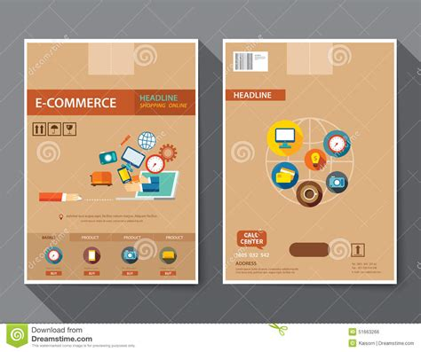 e brochure design templates set of e commerce magazine cover flyer brochure flat