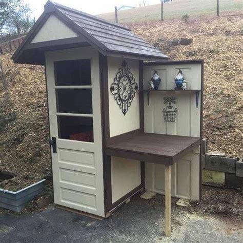 pin  sharon thomas  garden potting bench sheds