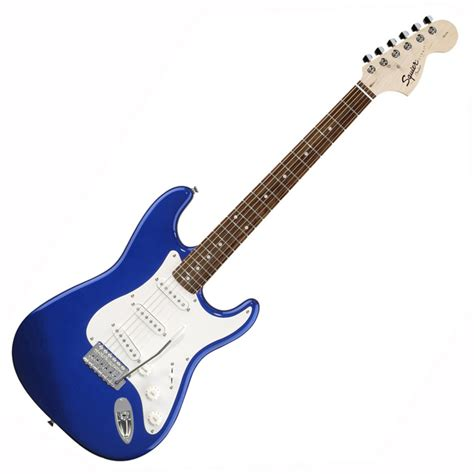light blue fender electric guitar squier by fender affinity stratocaster metallic blue at