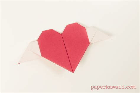 Origami Hearts - origami with wings tutorial paper kawaii