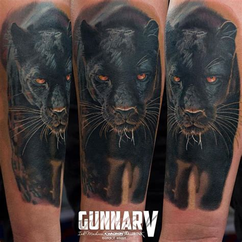 black panther tattoo on right sleeve by gunnarv