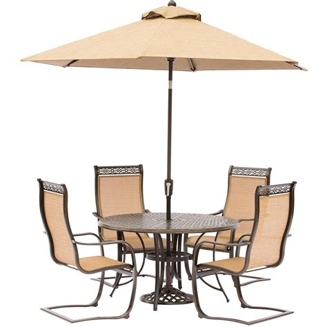 Patio Dining Table And Chairs Hanover Manor 5 Aluminum Outdoor Dining Set With Sling Chairs Cast Top Table