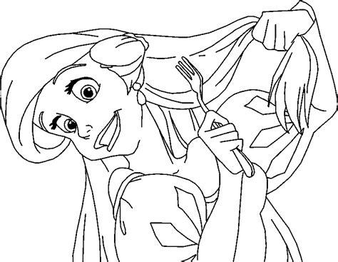 princess hair coloring pages ariel brushing her hair with fork coloring page cartoon