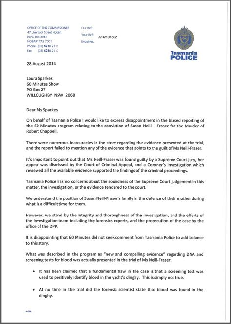 Letter Tasmania Response To Claims Made By The 60 Minutes Program Tasmania