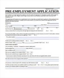 Pre Employment Application Template by Employment Application Forms