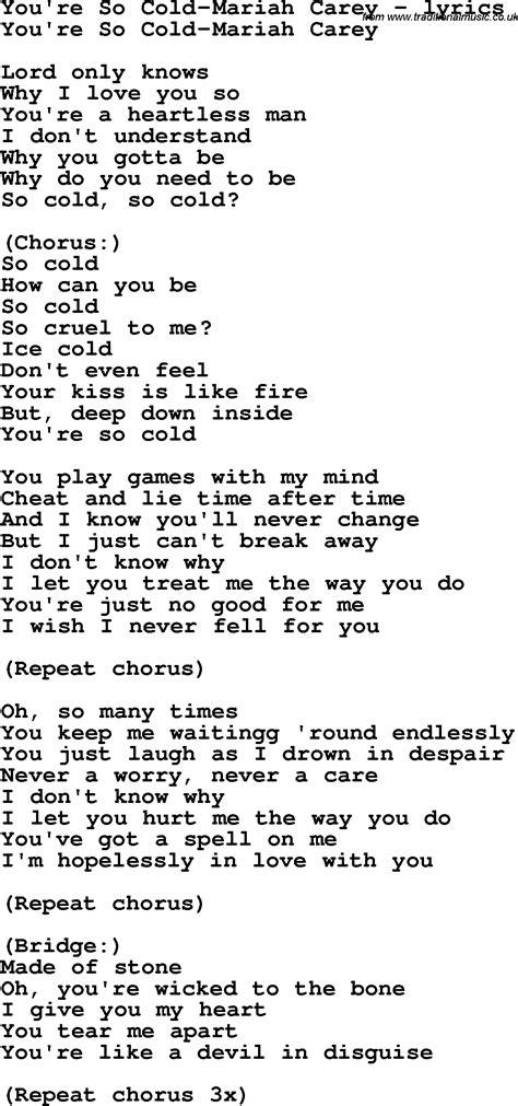 lyrics carey song lyrics for you re so cold carey