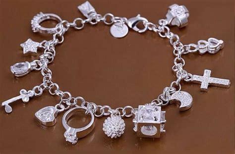 925 sterling silver mixed charm pendants bracelet bangle