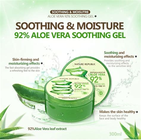 Nature Republic Soothing Moisture Aloe Vera Soothing Gel 300ml nature republic aloe vera soothing gel hermo malaysia