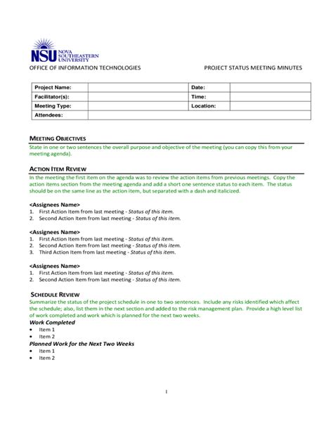 Meeting Status Report Template Project Status Meeting Minutes Template Free