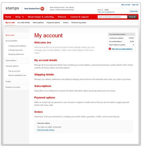 my account customer account online new zealand post sts