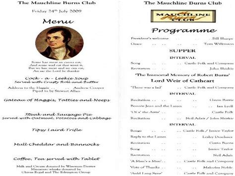 burns supper menu template mauchline burns club