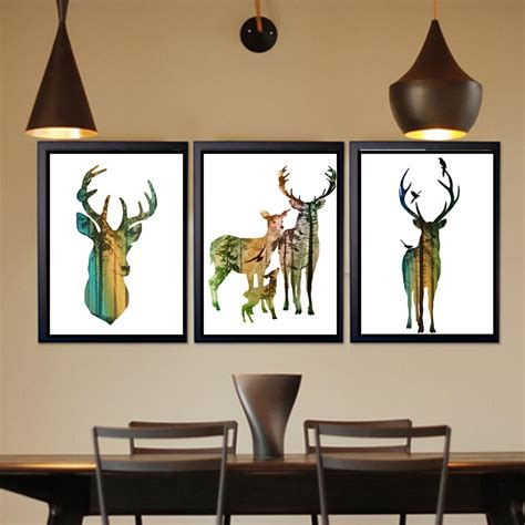 painting for home decor azqsd nordic vintage large art print poster deer head family animal silhouette wall picture