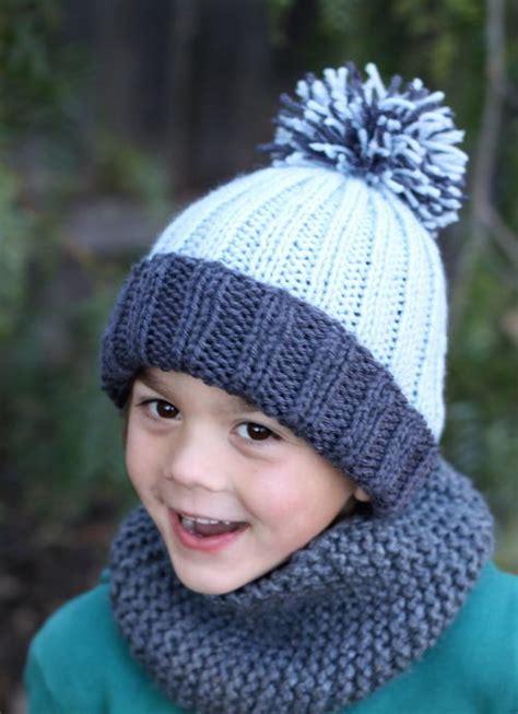 easy knit hat pattern for beginners beginner easy ribbed pom hat allfreeknitting