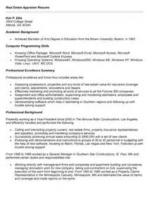 Realtor Resume Sle by Commercial Real Estate Appraiser Resume Sales