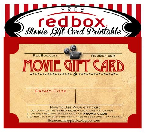 Printable Redbox Gift Cards - movie gift card printable gallery